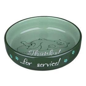 Миска кошачья керамическая для коротконосых пород Trixie 24795 зеленая