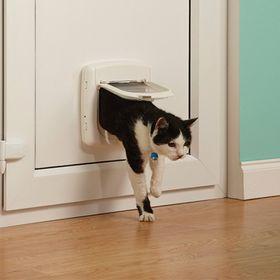 Дверца для кошки с инфракрасным замком Staywell Infra Red установленная