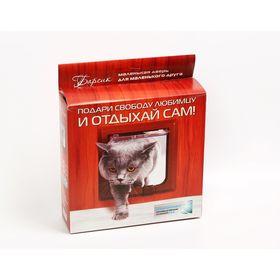 Дверца для кошки Барсик для дверей от 36 до 42 мм в упаковке