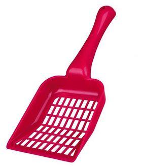 Пластиковый совок с отверстиями для кошачьего туалета красный